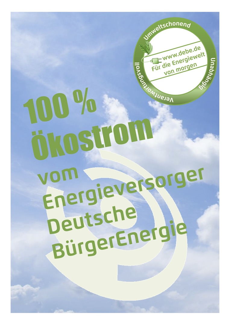 Poster DINA4_100 Prozent Oekostrom_Weisses Ross